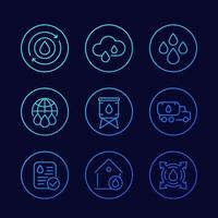 water supply, resources linear vector icons set.eps