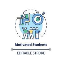 Motivated students concept icon vector