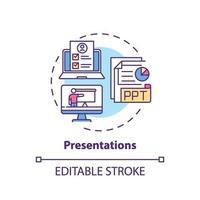 icono de concepto de presentaciones vector