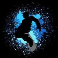Silhouette illustration of a snowboarder on paint splash background vector