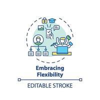 abrazando el icono del concepto de flexibilidad