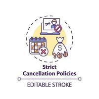 icono de concepto de políticas de cancelación estrictas vector