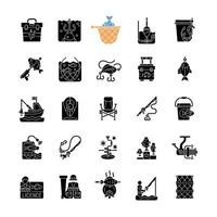 Fishing equipment black glyph icons set on white space vector