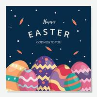 Happy easter day background and social media post. Vector illustration. Hand drawn. Greeting card. Business banner. Flat design.