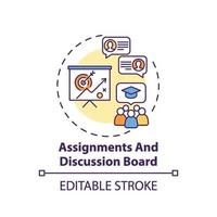Assignments and discussion board concept icon vector