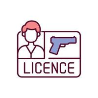 Licencia de pistola icono de color rgb vector