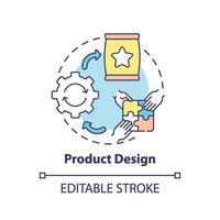 icono de concepto de diseño de producto vector