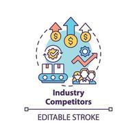 icono de concepto de competidores de la industria vector