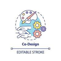 icono del concepto de co-diseño vector