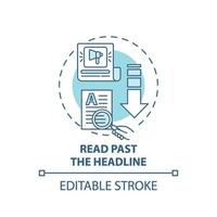 Reading past headline concept icon