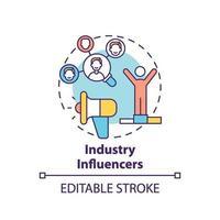 icono de concepto de influencers de la industria vector