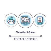 icono del concepto de software de simulación vector