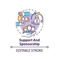 icono de concepto de apoyo y patrocinio vector