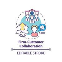 Firm-customer collaboration concept icon vector