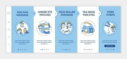 At-home facial treatment procedures onboarding vector template
