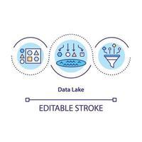 icono de concepto de lago de datos vector