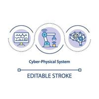 Cyber-physical system concept icon
