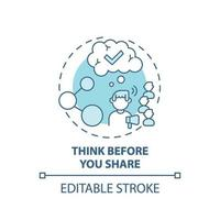 Thinking before sharing concept icon vector