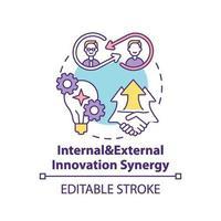 icono de concepto de sinergia de innovación interna y externa vector