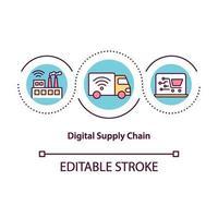 icono de concepto de cadena de suministro digital vector