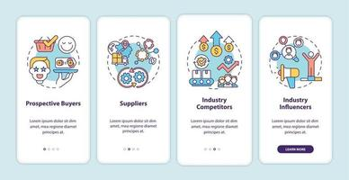 Co-creation participants onboarding mobile app page screen with concepts vector