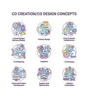 conjunto de iconos de concepto de co-creación vector