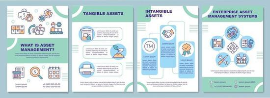 Tangible and intangible asset brochure template vector