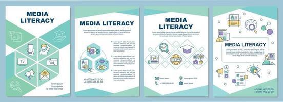 plantilla de folleto de alfabetización mediática vector
