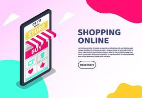 Shopping Online isometric web concept. Big smartphone digital marketing and e-commerce with Huge bill. Supermarket in device online store. Vector illustration