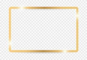 Golden border frame with light shadow and light affects. Gold decoration minimal design for copy space. Vector illustration