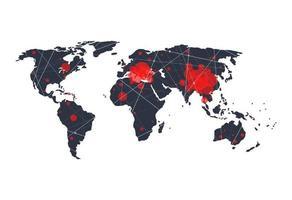 detener covid-19 concepto de propagación mapa del mundo diseño de fondo. ilustración vectorial