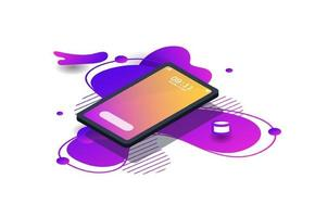 Modern isometric mockup phone with gradient color summer for Poster, Infographics, Game Asset, Cover. Vector illustratio