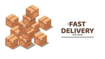 cajas de cartón precintado apiladas. diseño aislado de estilo plano sobre fondo blanco para cartel, sitio web, banner. ilustración vectorial vector