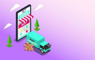 Shopping Online with Delivery service. Big smartphone digital marketing and e-commerce with Huge bill concept. Supermarket in device online store. Vector illustration