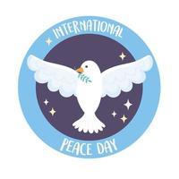 dia internacional de la paz con paloma vector
