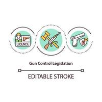 icono de concepto de legislación de control de armas vector