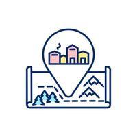 icono de color rgb de pueblo de invierno europeo vector