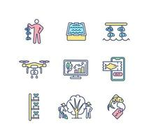 Agriculture production RGB color icons set vector