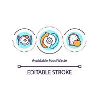 Avoidable food waste concept icon vector