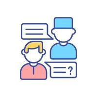 GP doctor consultation with patient RGB color icon vector