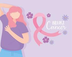 Breast cancer awareness banner with woman doing a self examination vector