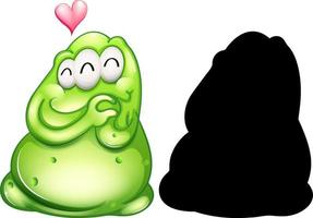 Green monster with its silhouette on white background vector