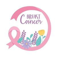 Breast cancer awareness banner with pink ribbon and flowers vector