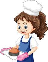 Chef chica con gorro de cocinero sosteniendo bandeja para hornear vector
