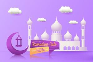 Ramadan sale ads banner design vector