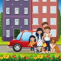 Outdoor scene with happy family vector