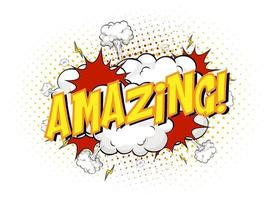 Word Amazing on comic cloud explosion background vector