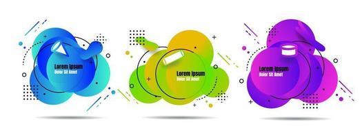 Set abstract colorful liquid geometric for banner, card, brochure. Isolated waves. Template for your text. Vector illustration