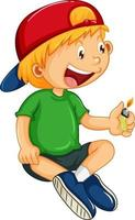 A boy holding a lighter cartoon character isolated vector