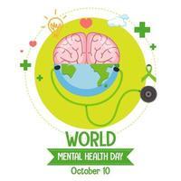 banner o logotipo del día mundial de la salud mental aislado sobre fondo blanco
